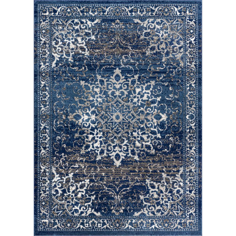 Well Woven New Age Sultana Blue 7 Ft 10 In X 9 Traditional Medallion Vintage Distressed Area Rug P Am 64 The Home Depot