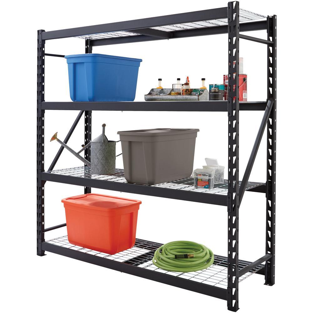 Husky Black Heavy Duty 4-Tier Steel Garage Storage Shelving Unit (77 in. W x 78 in. H x 24 in. D)