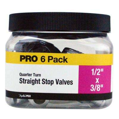 1/2 in. Chrome-Plated Brass PEX Barb x 3/8 in. Compression Quarter-Turn Straight Stop Valve Jar (6-Pack)