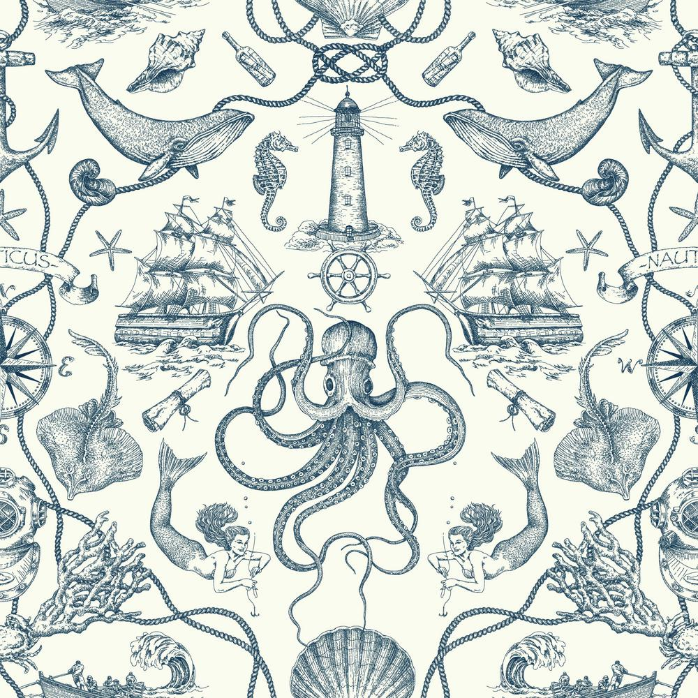 York Wallcoverings Deep Sea Toile Paper Strippable Wallpaper Covers 56 Sq Ft Ho3361 The Home Depot