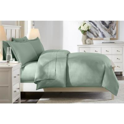 300 Thread Count Wrinkle Resistant American Cotton Sateen 3-Piece King Duvet Cover Set in Willow Green