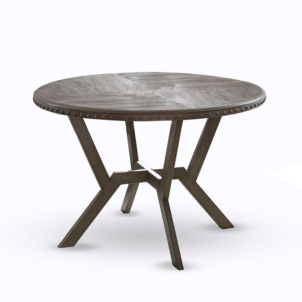 Steve Silver Alamo Round Gray Wire Brushed Dining Table Al450t The Home Depot