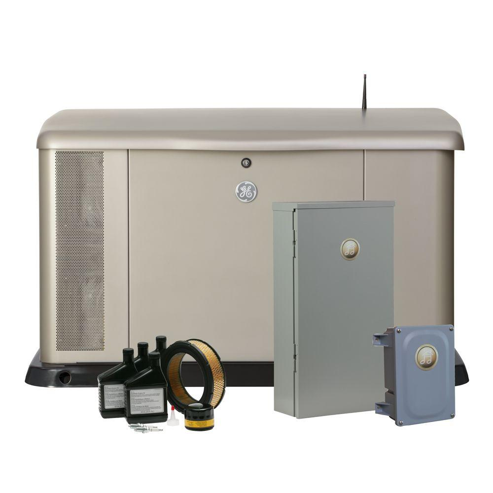 GE 20,000-Watt Air Cooled Home Generator System with Symphony II Whole House, 200-Amp Transfer Switch, Free Maintenance Kit