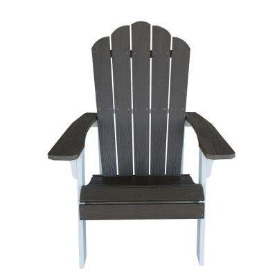 Outdoor 2-Tone Adirondack Chair with Durable Faux Wood Construction - Driftwood with White Accents