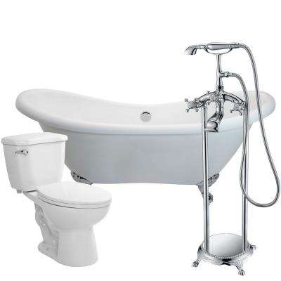 Aegis 68.75 in. Acrylic Clawfoot Non-Whirlpool Bathtub in White with Tugela Faucet and Kame 1.28 GPF Toilet
