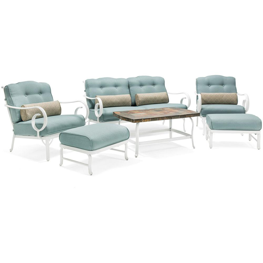 White Willow 6-Piece Aluminum Patio Seating Set with Blue Cushions