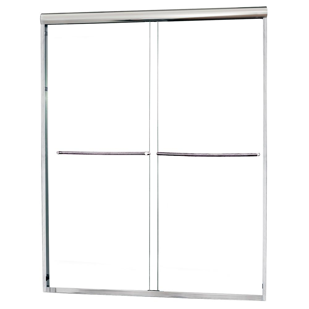 Foremost Cove 42 In To 46 In X 65 In Semi Framed Sliding Bypass Shower Door In Silver With 1 4 In Clear Glass Cvss4665 Cl Sv The Home Depot