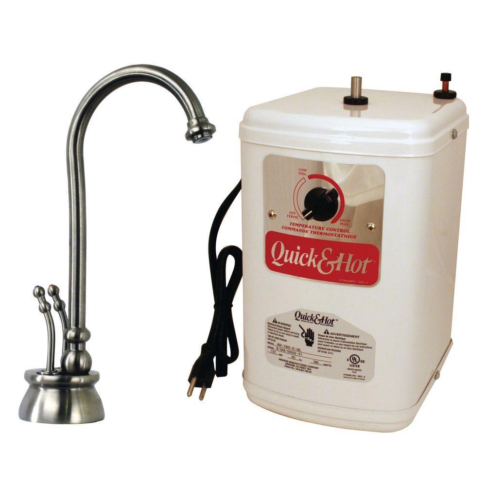 Docalorah 2-Handle Hot Water Dispenser Faucet in Satin Nickel with Hot Water Tank