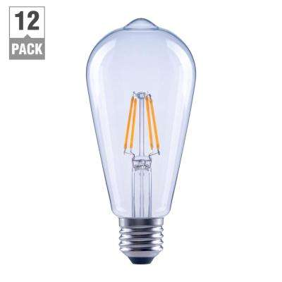 40-Watt Equivalent ST19 Clear Glass Filament Dimmable LED Light Bulb Soft White (12-Pack)
