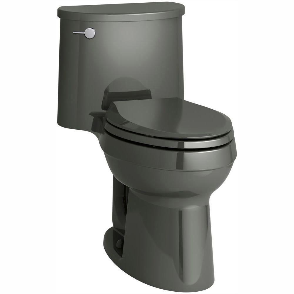 Adair Comfort Height 1-piece 1.28 GPF Single Flush Elongated Toilet with AquaPiston Flush Technology in Thunder Grey