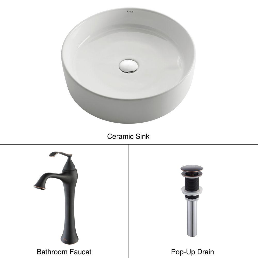 KRAUS Round Ceramic Vessel Sink in White with Ventus Faucet in Oil Rubbed Bronze