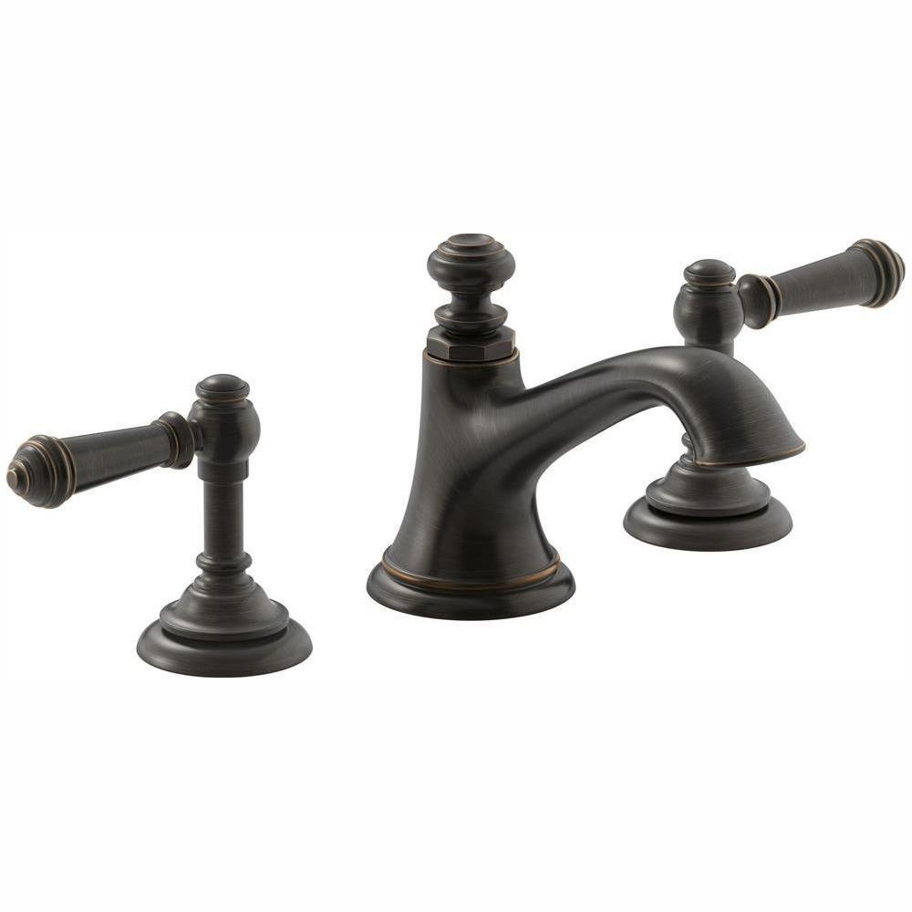 KOHLER Artifacts 8 in. Widespread 2-Handle Bell Design Bathroom Faucet in Oil Rubbed Bronze with Lever Handles