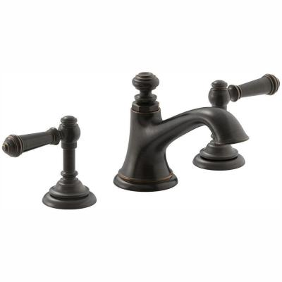 Artifacts 8 in. Widespread 2-Handle Bell Design Bathroom Faucet in Oil Rubbed Bronze with Lever Handles