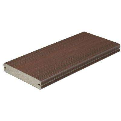 Horizon 1 in. x 5-1/4 in. x 1 ft. Rosewood Grooved Edge Capped Composite Decking Board Sample