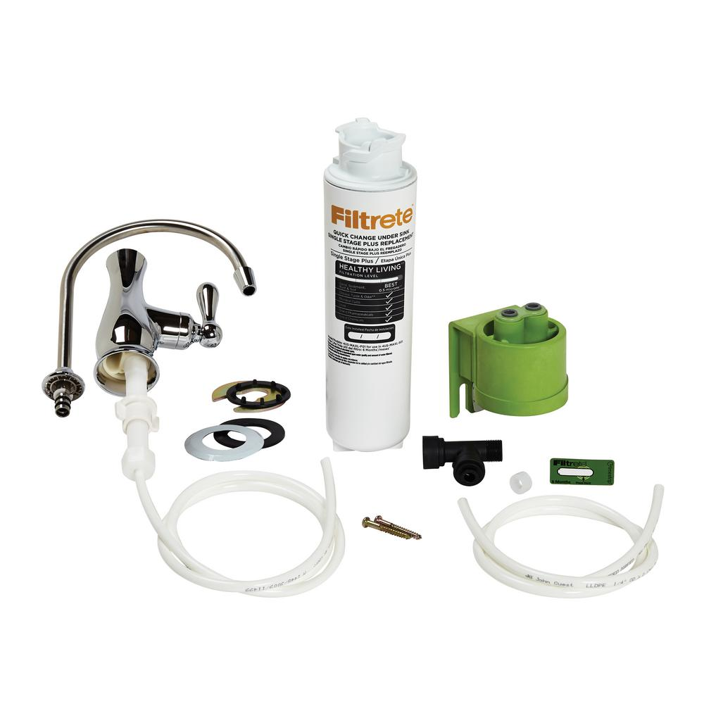 Filtrete Single Stage Plus Under Sink Maximum Filtration High Performance Fuel Filters Drinking Water System With Faucet