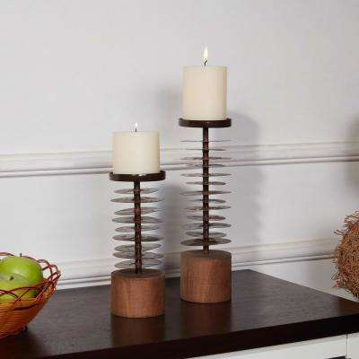 Eucalyptus Metal and Wood Candle Holders (Set of 2)