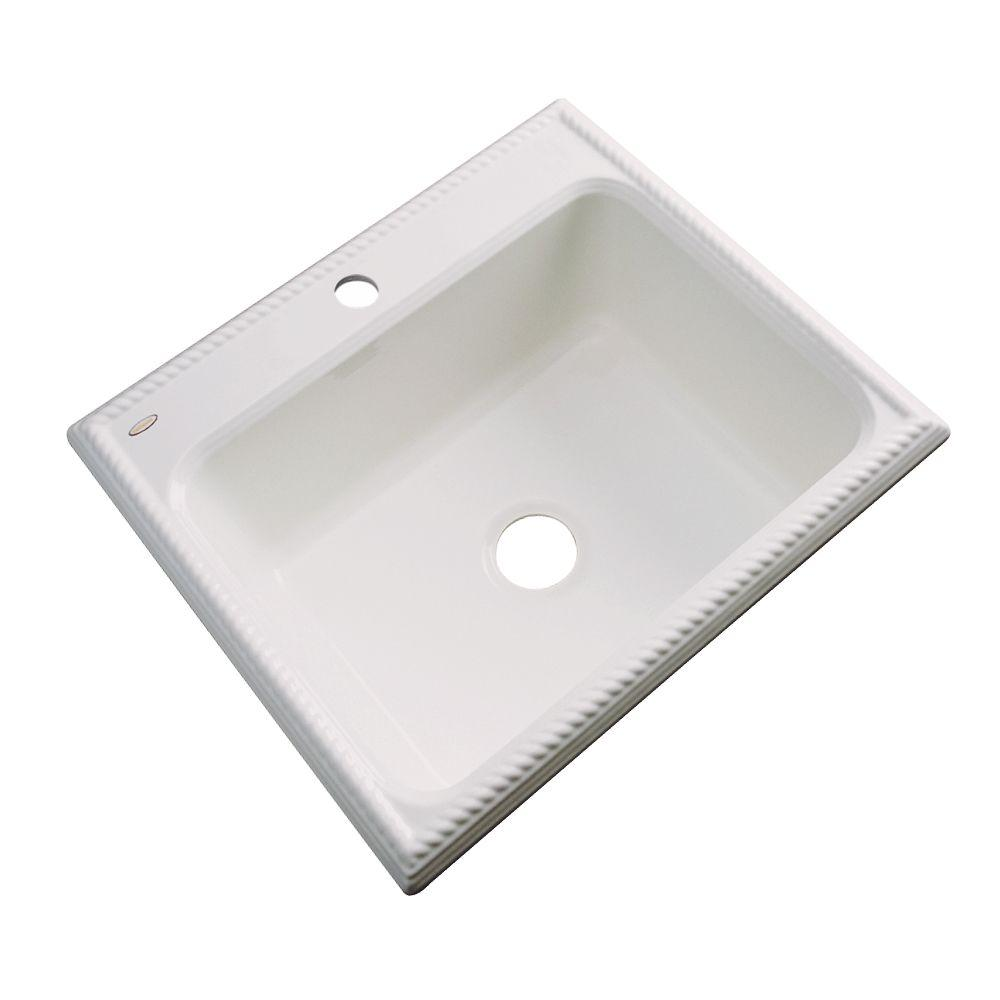 Wentworth Drop-In Acrylic 25 in. 1-Hole Single Bowl Kitchen Sink in