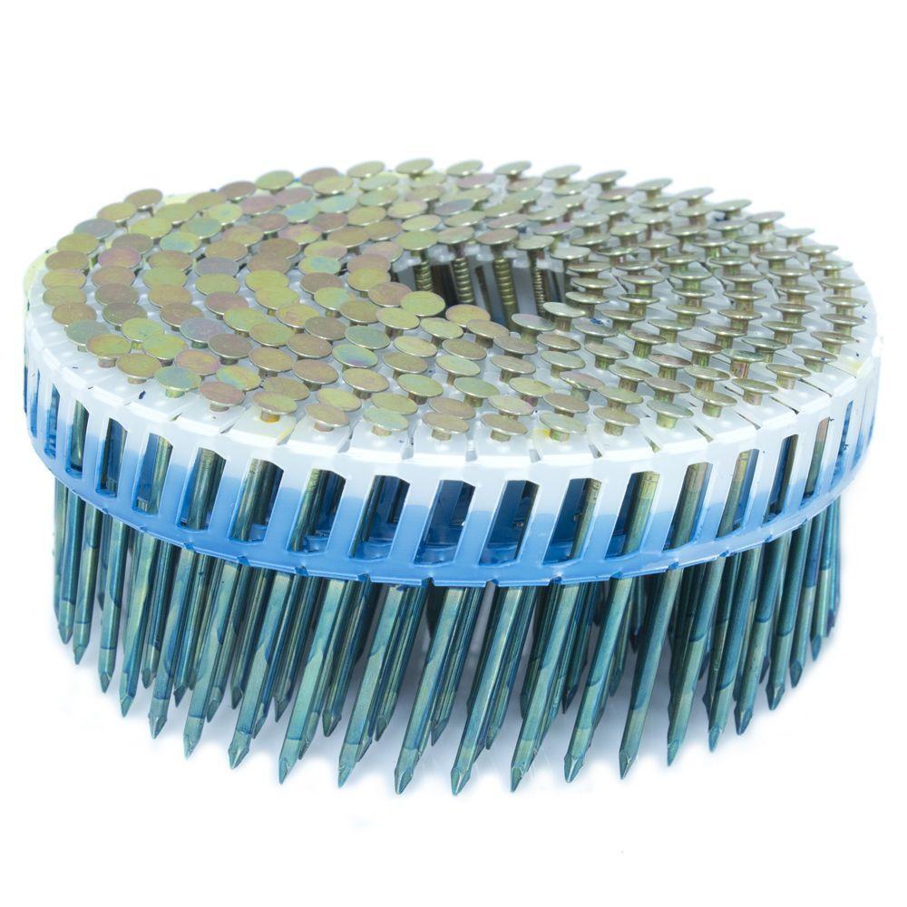 FASCO 2 in. x 0.092 in. 15-Degree Smooth Galvanized Plastic Sheet Coil Siding Nail 800 per Box