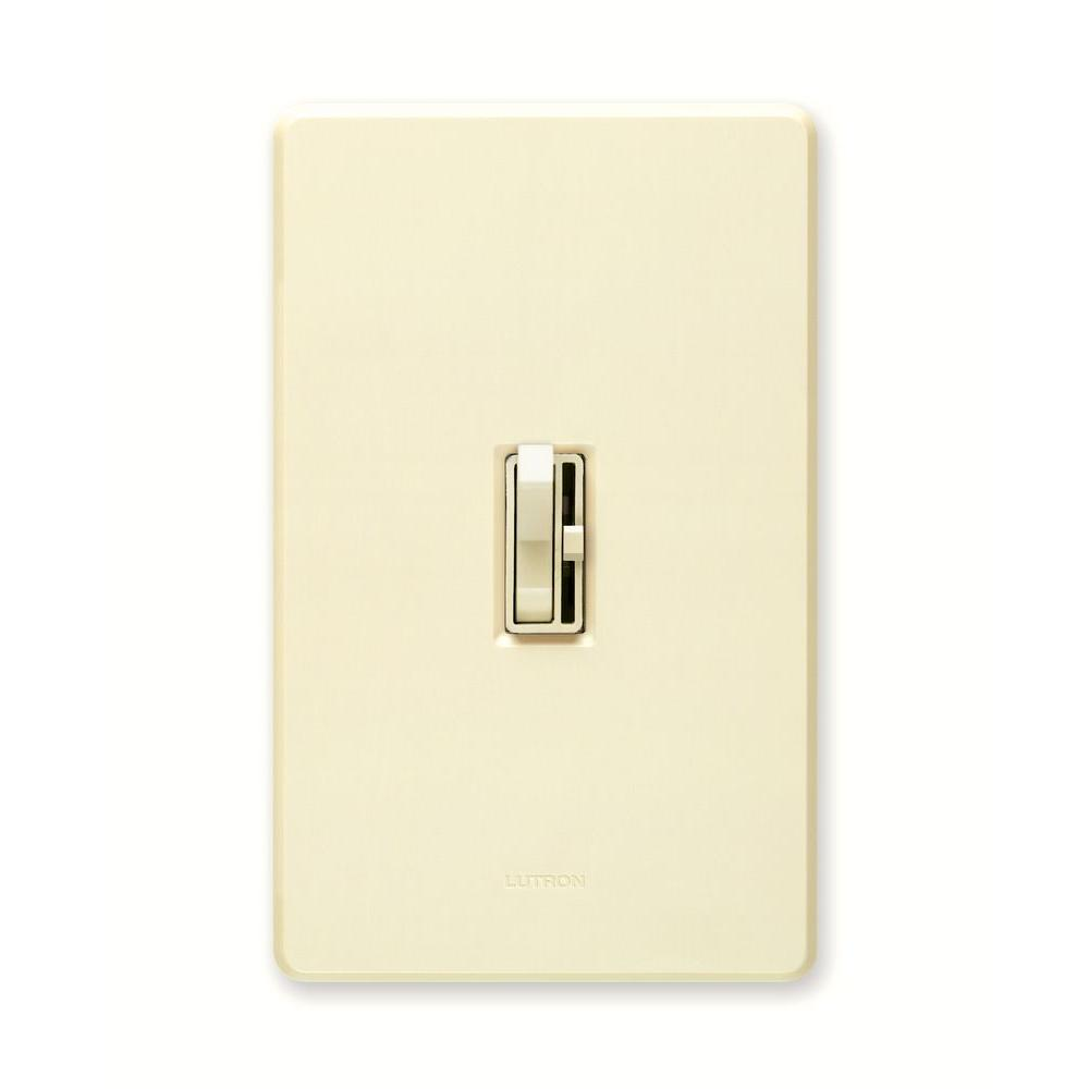 Toggle Dimmers Wiring Devices Light Controls The Home Depot White Single Pole Switch Toggler 600 Watt Dimmer With Night Almond