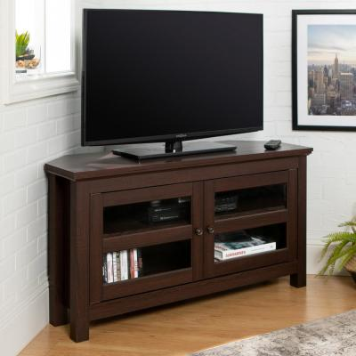 Cordoba 44 in. Espresso Composite Corner TV Stand 48 in. with Glass Doors