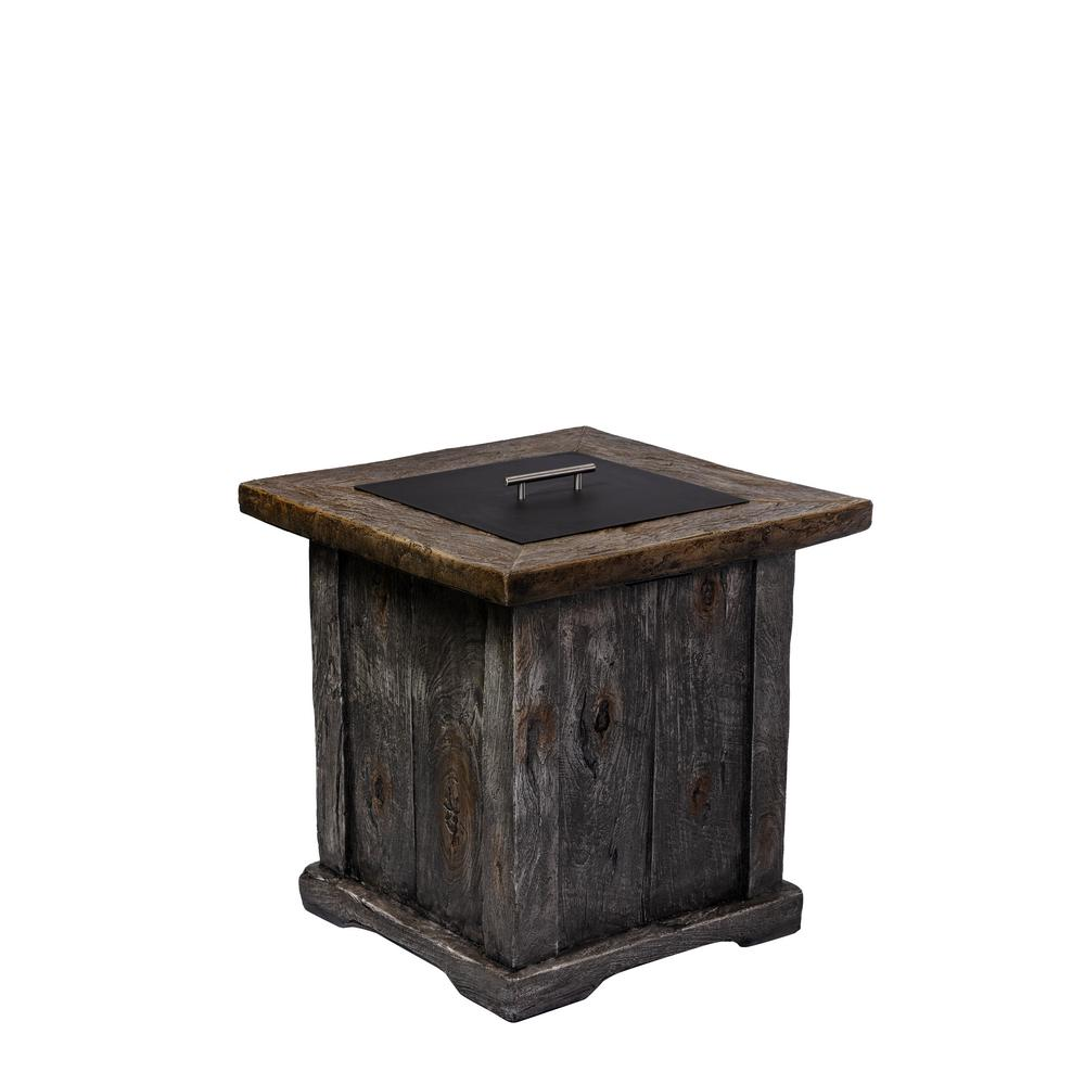 24 in. W x 26 in. H Square MGO Propane Fire Pit in Wooden Finish with Cover