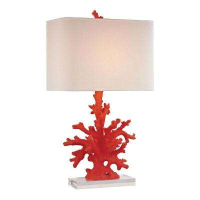 28 in. Red Coral Table Lamp