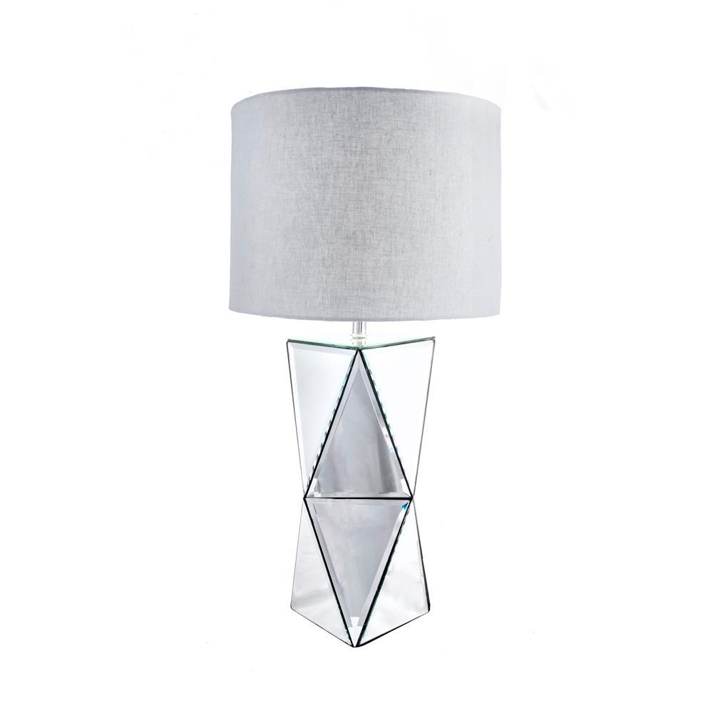 Hourglass Pedestal 30 in. Silver Table Lamp