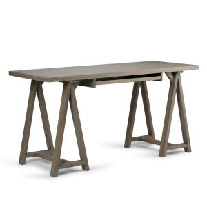 Sawhorse Solid Wood Modern Industrial 60 in. Wide Modern Industrial Writing Office Desk in Distressed Grey