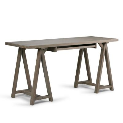 60 in. Rectangular Distressed Grey Writing Desk with Keyboard Tray