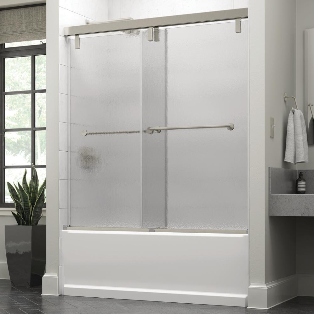 Crestfield 60 in. x 59-1/4 in. Mod Semi-Frameless Sliding Bathtub Door in Nickel and 3/8 in. (10mm) Rain Glass