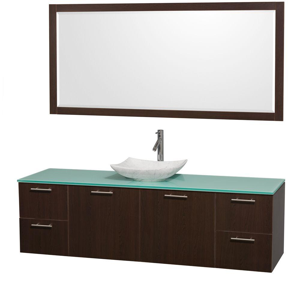 Wyndham Collection Amare 72 in. Vanity in Espresso with Glass Vanity Top in Green, Marble Sink and 70 in. Mirror