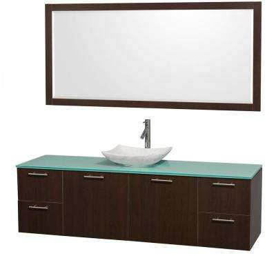 Amare 72 in. Vanity in Espresso with Glass Vanity Top in Green, Marble Sink and 70 in. Mirror