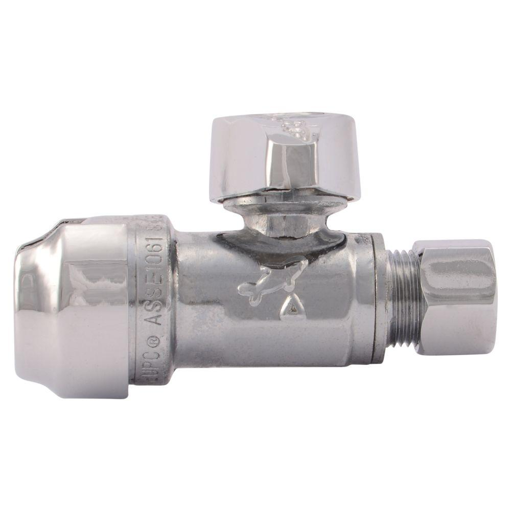 SharkBite 1/2 in. Chrome-Plated Brass Push-to-Connect x 3/8 in. O.D. Compression Quarter-Turn Straight Stop Valve