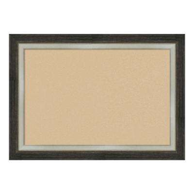 Brushed Metallic Wood Framed Beige Cork Memo Board