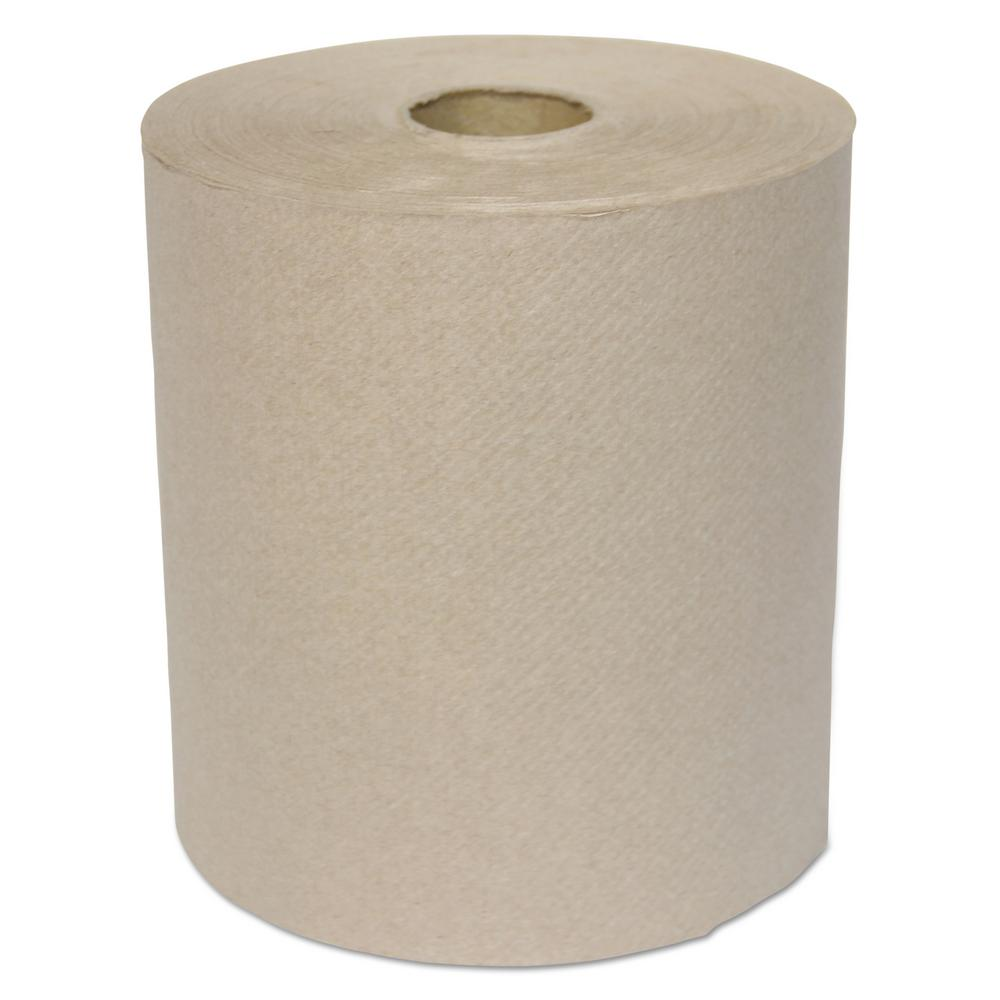 Hardwound Roll Towels, 1-Ply, Kraft, 8 in. x 700 ft, 6/Carton