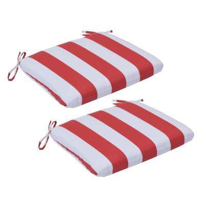 Red Cabana Stripe Trapezoid Outdoor Seat Cushion (2-Pack)