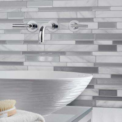 Milano Carrera Approximately 3 in. W x 3 in. H White and Gray Marble Decorative Mosaic Wall Tile Backsplash Sample