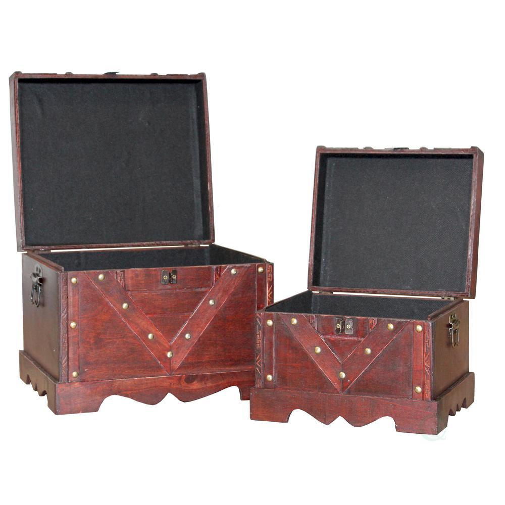 Wooden Antique Cherry Storage Trunk Set Of 2