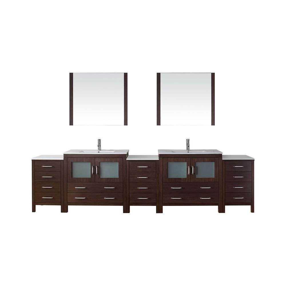 Virtu USA Dior 126 in. W x 18.3 in. D Vanity in Espresso with Ceramic Vanity Top in White with White Basin and Mirror