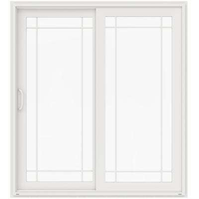 72 in. x 80 in. V-4500 White Prehung Left-Hand Sliding French 9 Lite Vinyl Patio Door