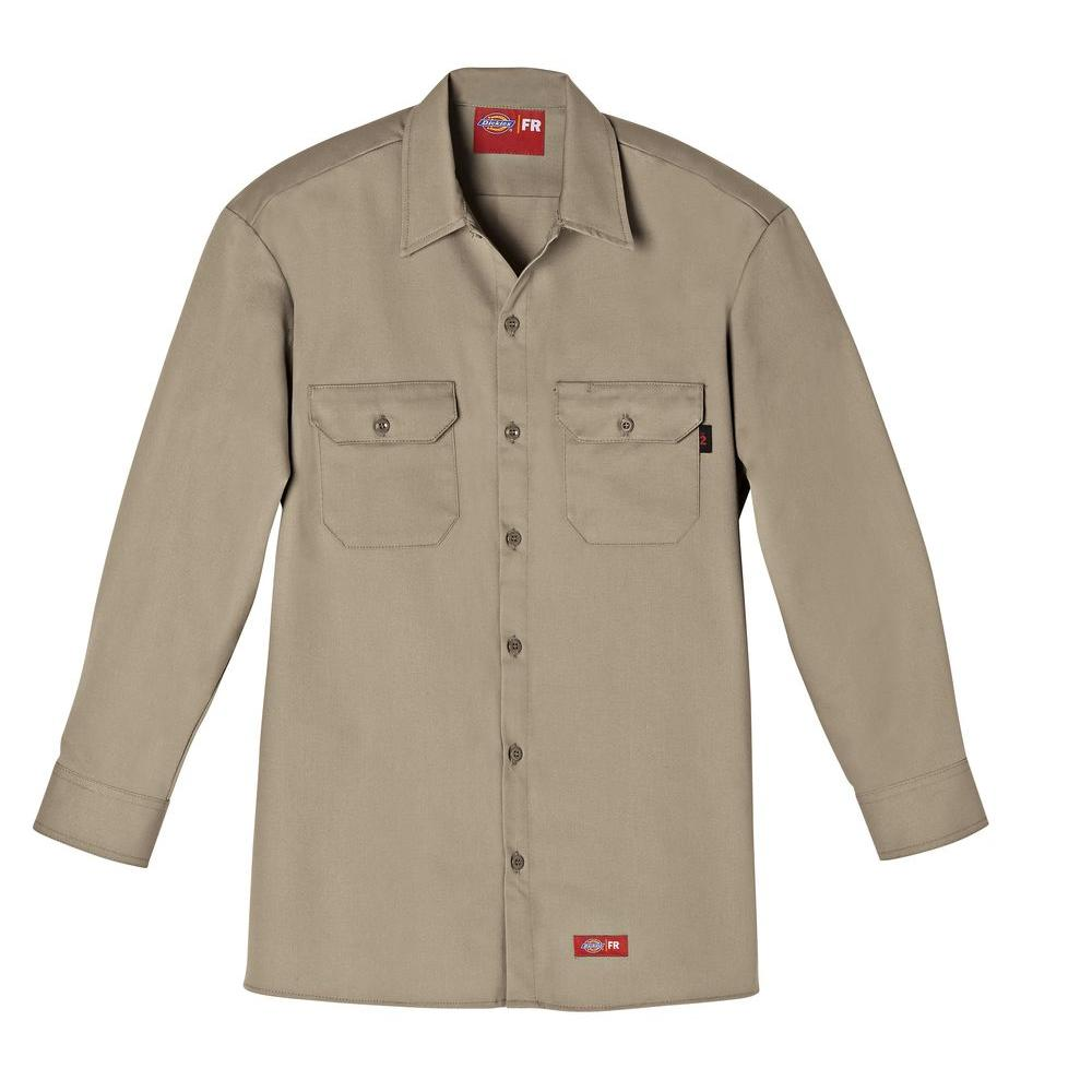 Dickies Men's Small Khaki Flame Resistant Long Sleeve Twill Shirt