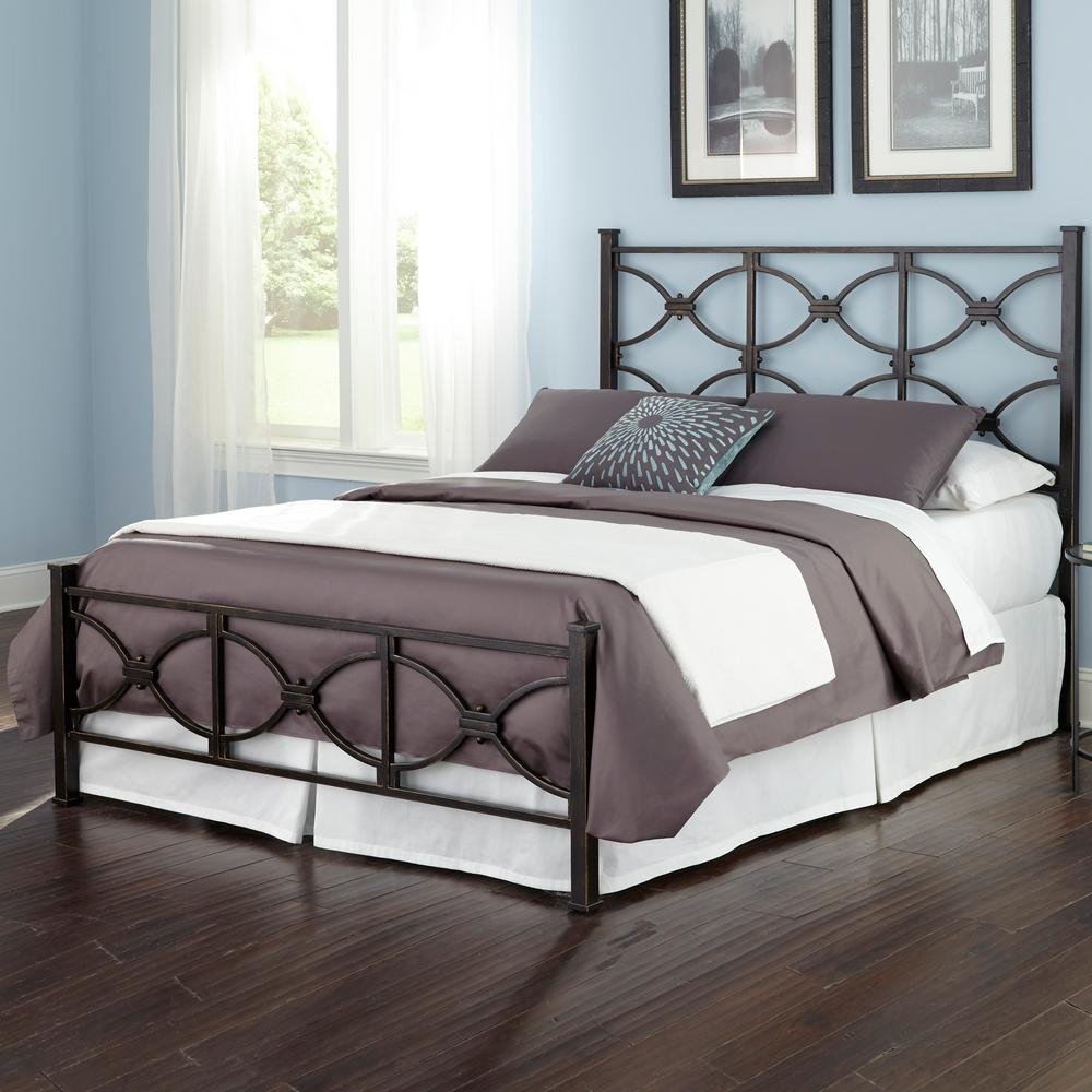 Marlo Burnished Black Full Complete Bed with Metal Duo Panels and