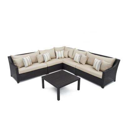 Deco 6-Piece Wicker Patio Sectional Seating Set with Slate Grey Cushions
