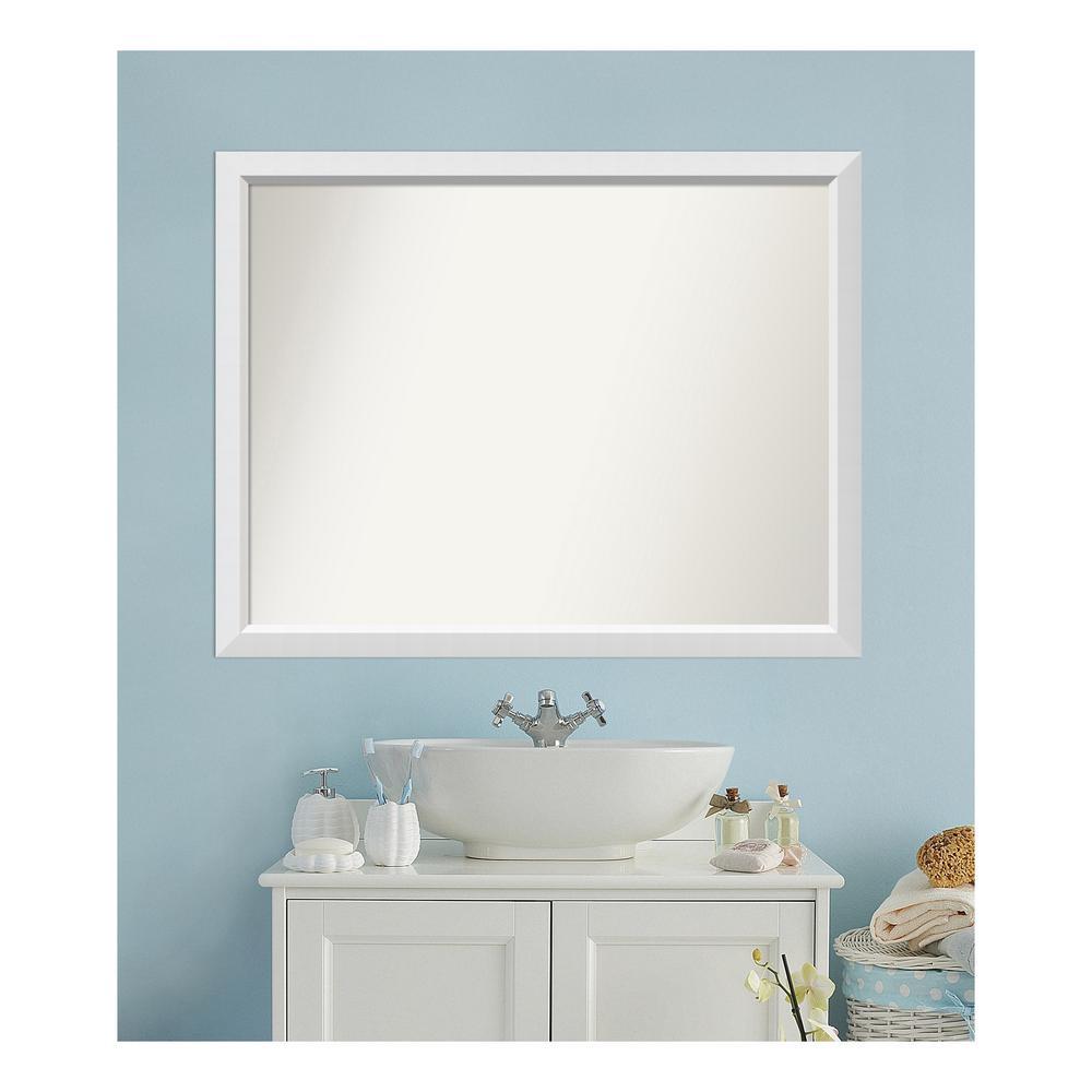 Medium Rectangle White Modern Mirror (36 in. H x 46 in. W)