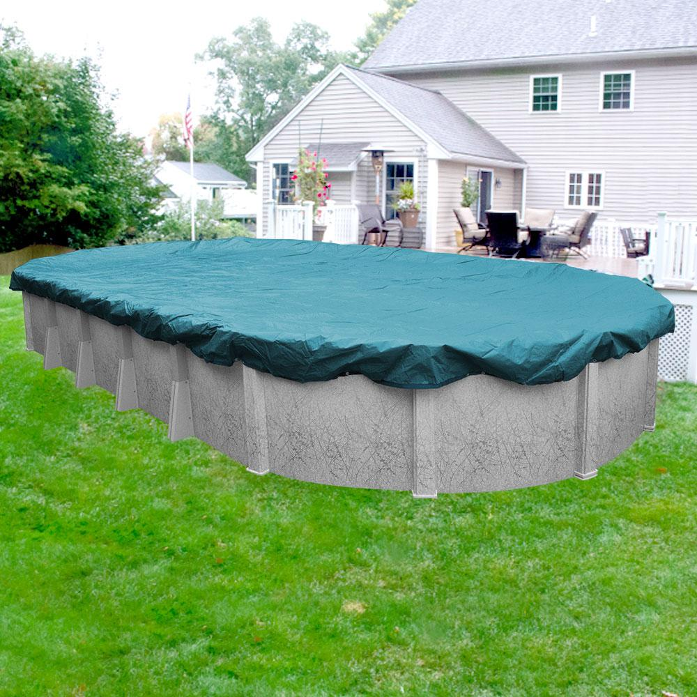 Pool Mate Guardian 16 ft. x 32 ft. Oval Teal Blue Winter Pool Cover