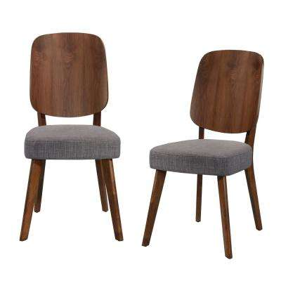 Georgetown Armless Dining Side Chair with wood paddle design back and seat in Gray Linen (Set of 2)