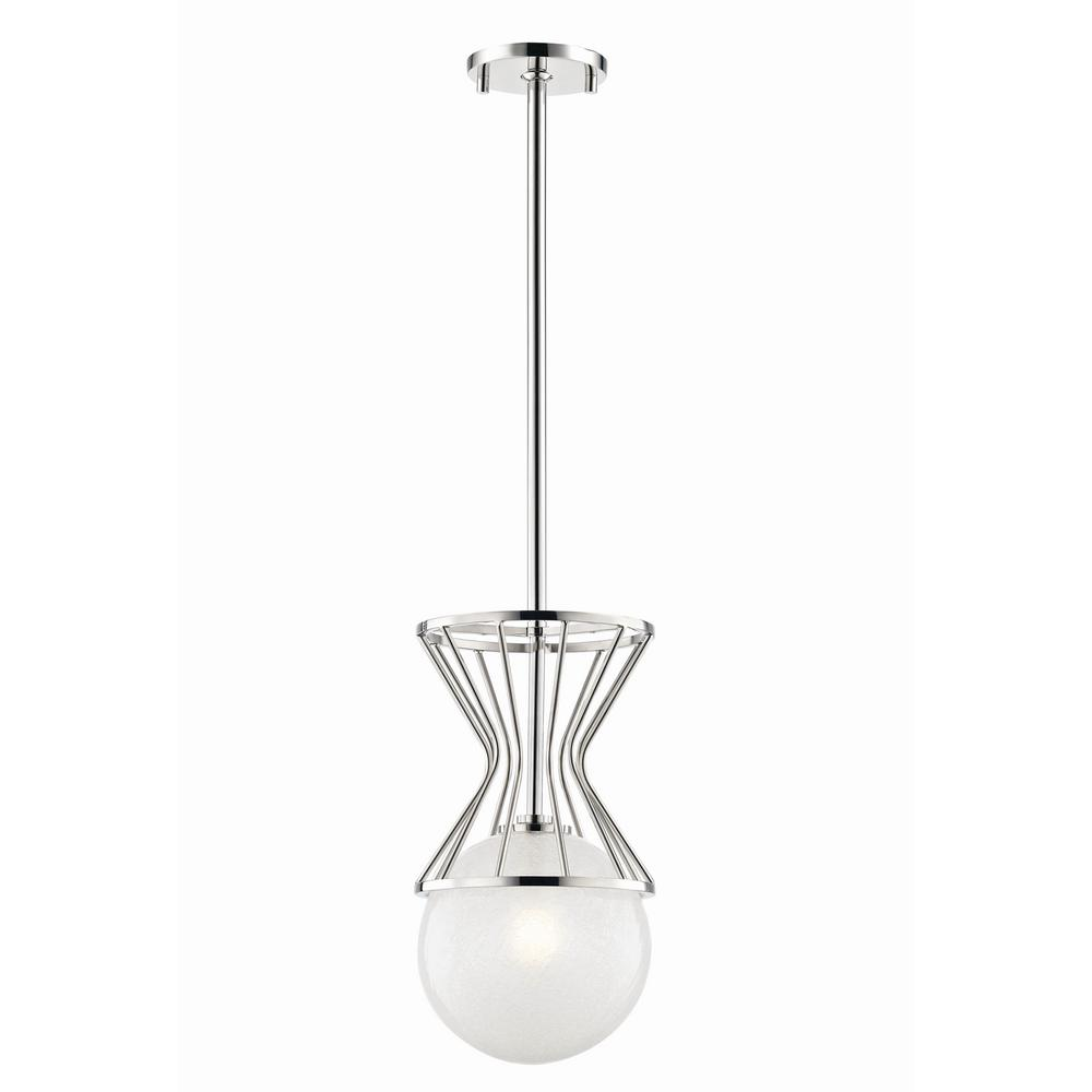 Mitzi by hudson valley lighting petra 1 light polished nickel pendant with clear crackel glass