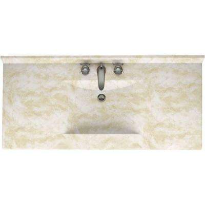 Contour 43 in. Solid Surface Vanity Top in Cloud White with Cloud White Basin