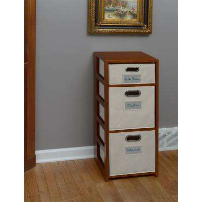 Flip Flop Cherry and Natural 3-Shelf Folding Bookcase and Storage Tote Set