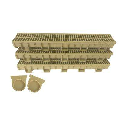 Easy Drain Sandstone 5.39 in. x 5.43 in. x 39.3 in. Modular Trench and Channel Drain Kit (Non-Heel Proof Grate) (3-Pack)